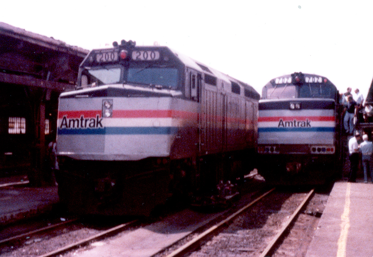 Amtrak 200 and 702 on display in Detroit.