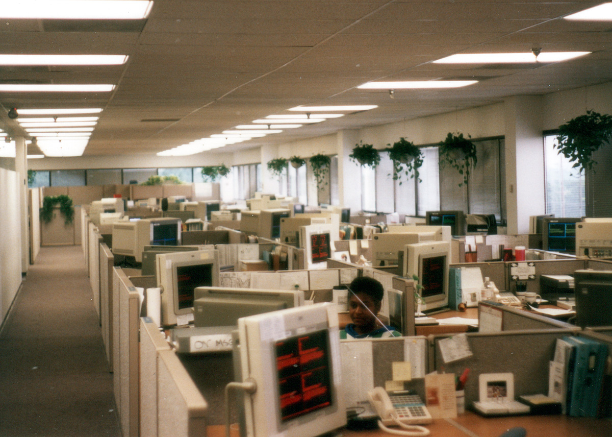 The Shipment Management Services area at Union Pacific Technologies, seen ca. 1995. (Jeffrey Dobek photo)