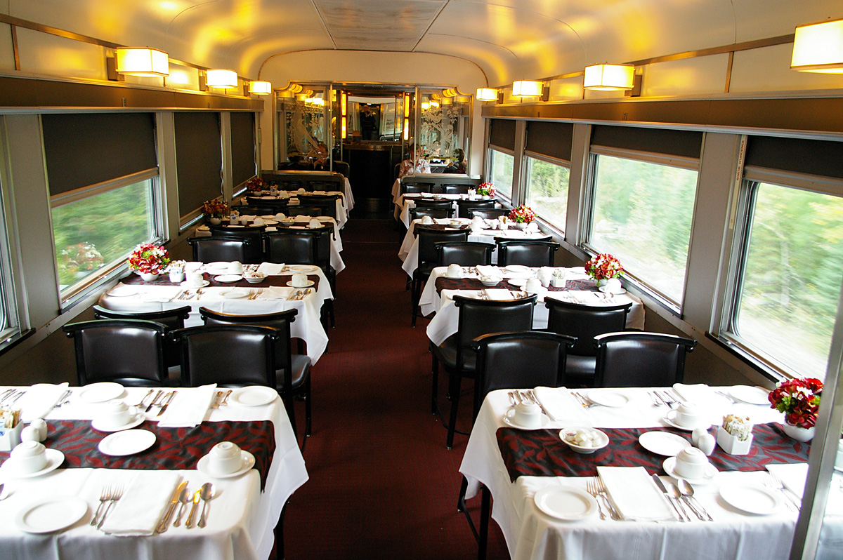 One of the two dining cars on the Canadian