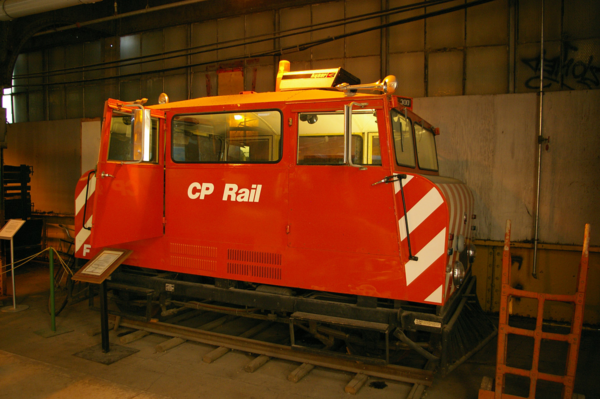 A former-CP Rail track inspection car in the Winnipeg Railway Museum