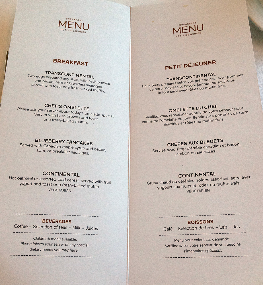 Breakfast menu on the Canadian