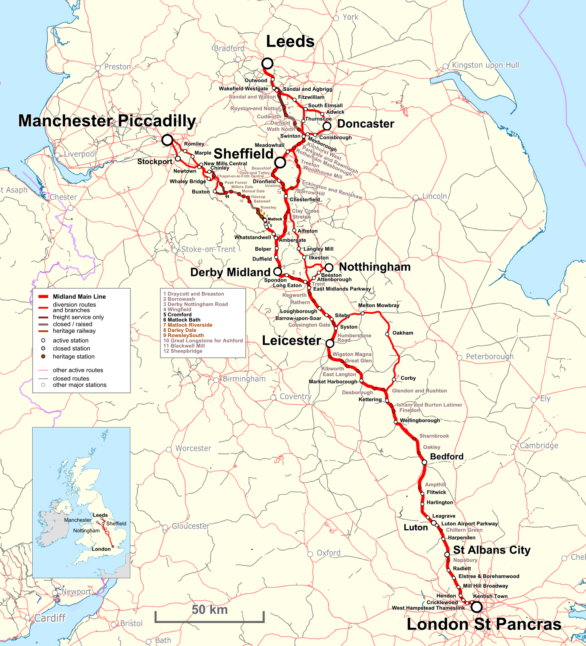 Map of the Midland Main Line