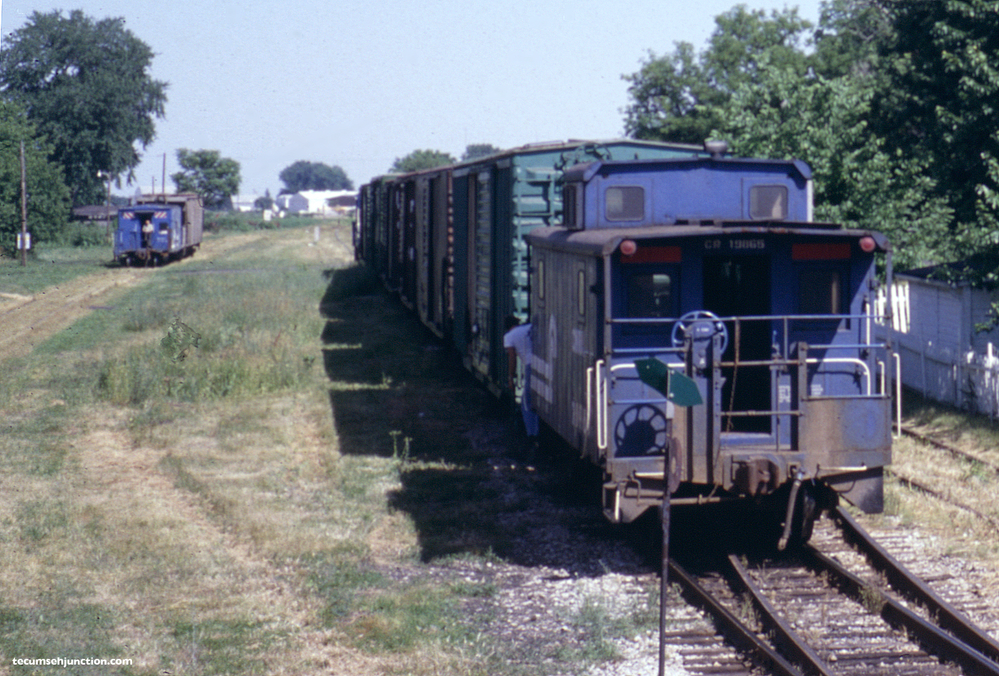 Cabooses at Blissfield, MI on 26 June 1979