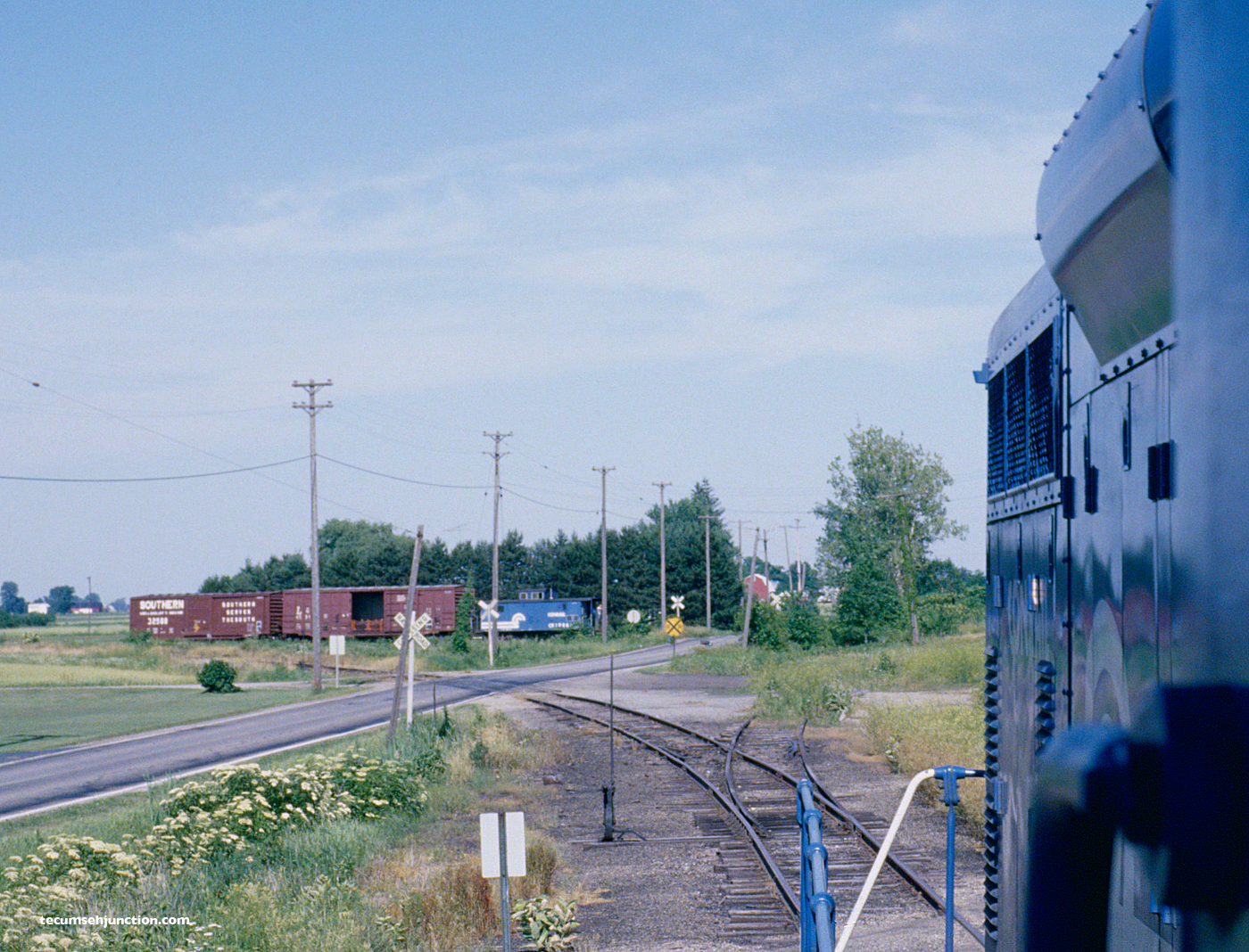 The northbound CSR-1 interchanges with the LCRC at Lenawee Jct., MI on 26 June 1979/