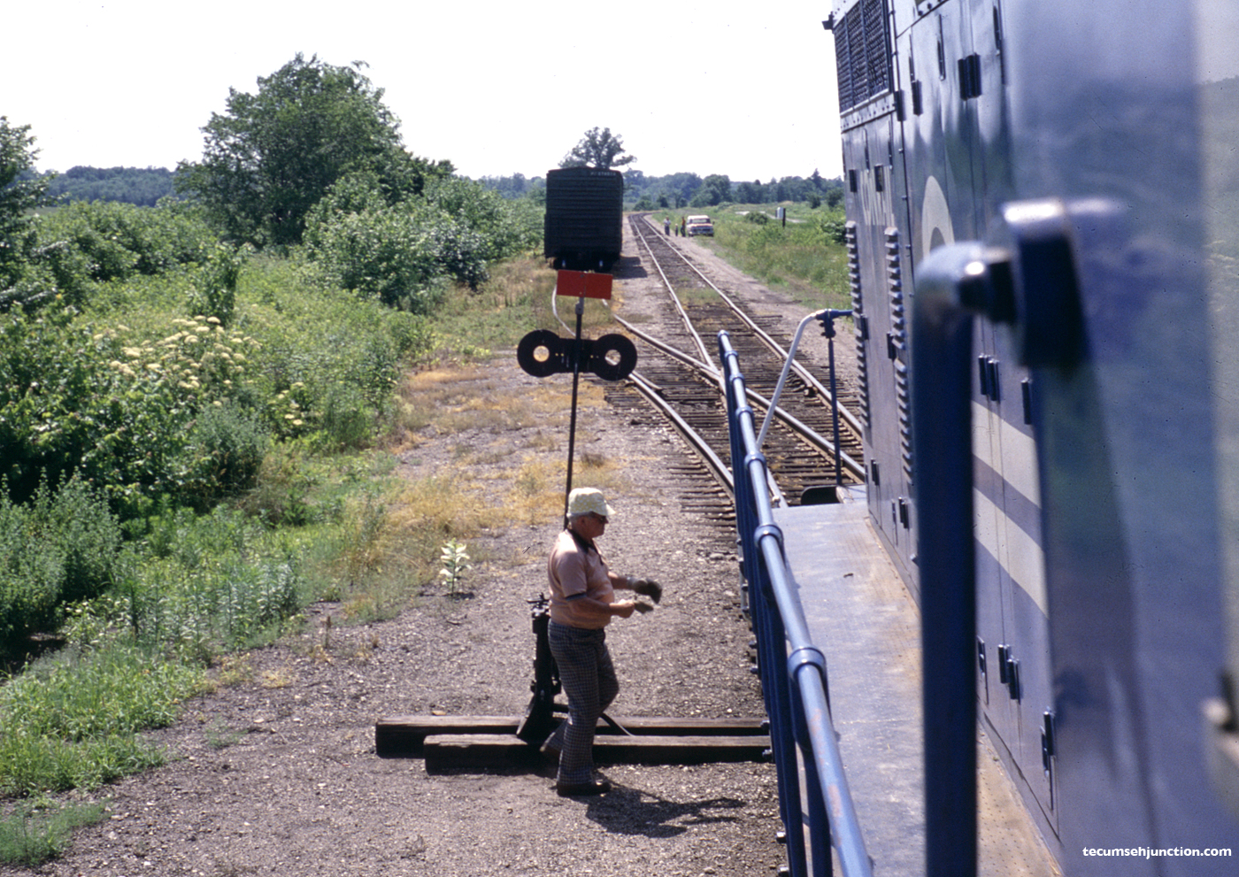 The CSR-1 switches the Lenawee County Railroad interchange track at Lenawee Jct., MI on 26 June 1979.