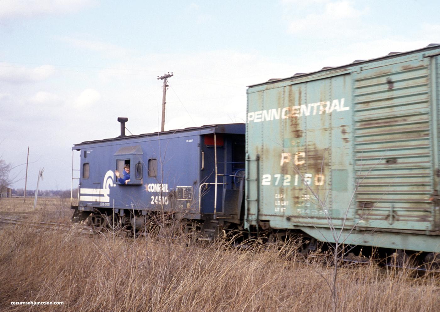 Conrail caboose #24510 at Palmyra, MI on 16 March 1981