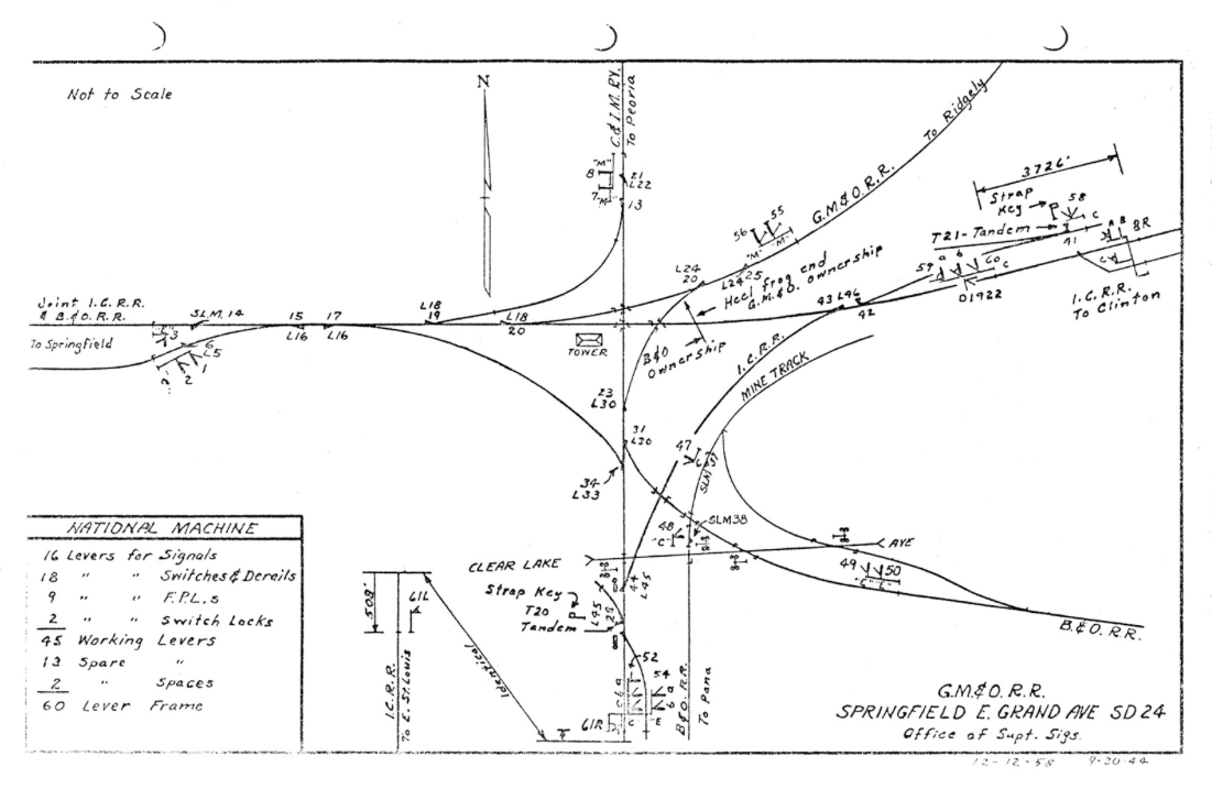 1958 track diagram of the Avenue Tower area