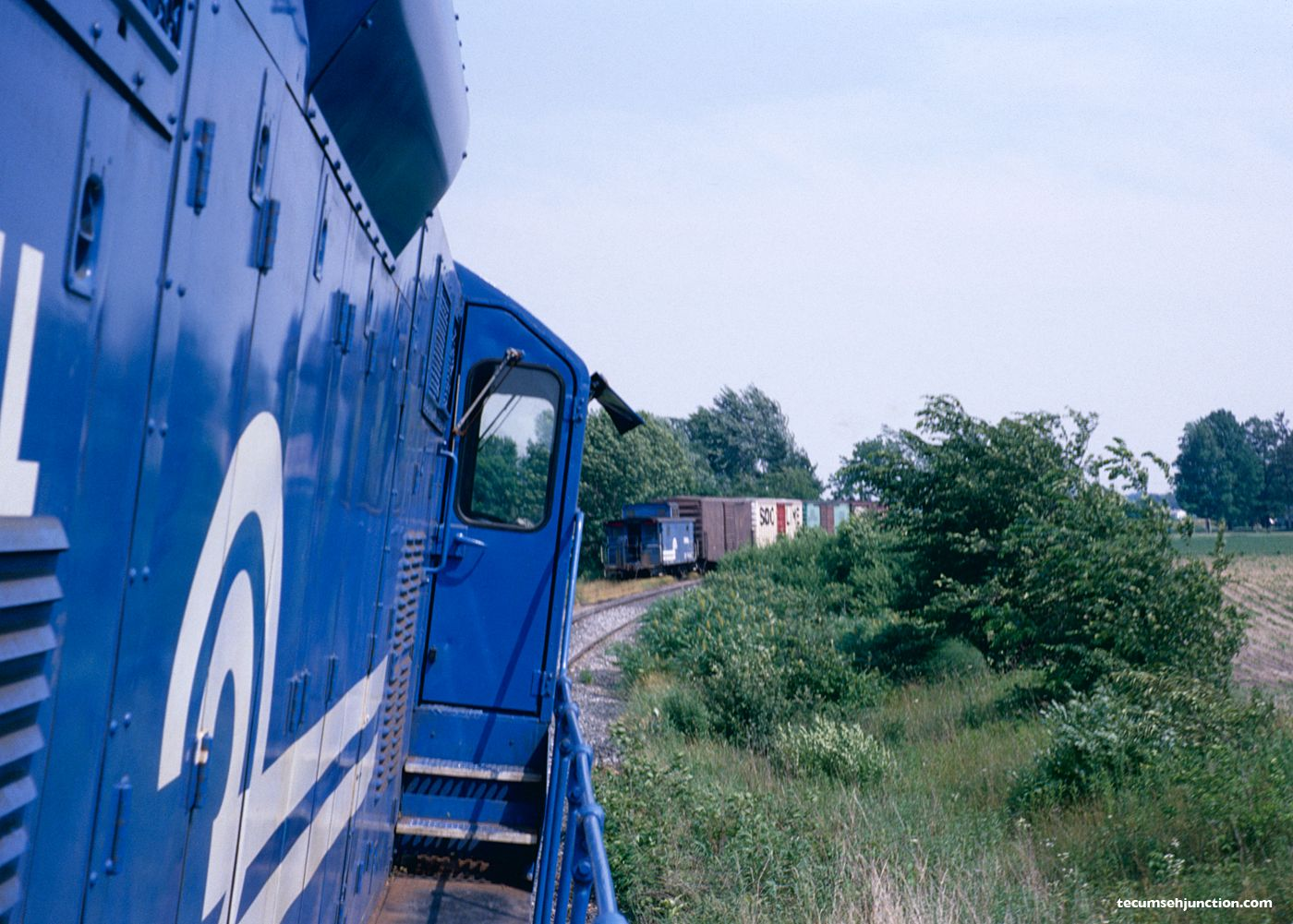 CSR-1 backs down to the Lenawee County Railroad interchange track at Lenawee Jct., MI on 26 June 1979