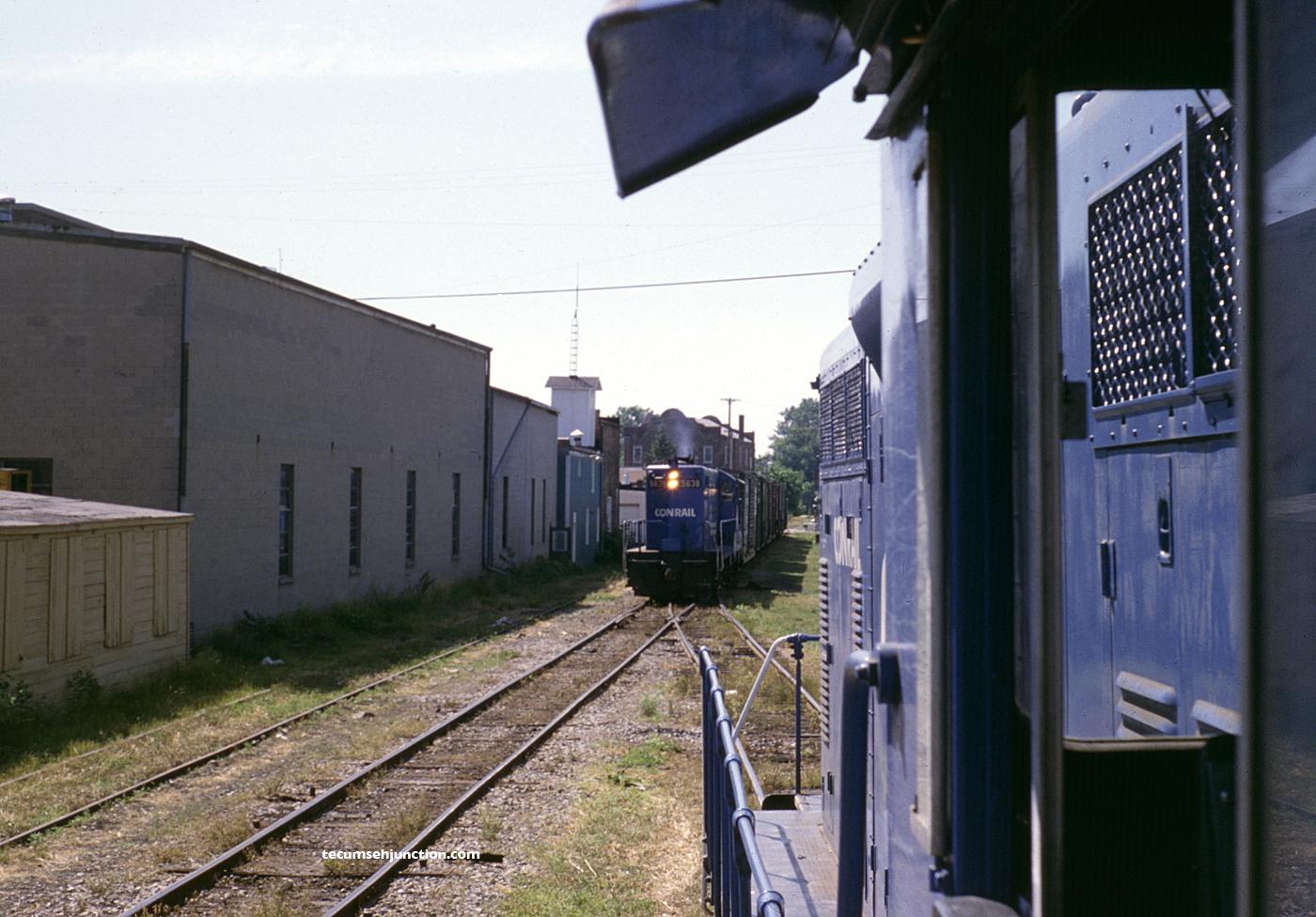 Conrail trains at Blissfield, MI on 26 June 1979