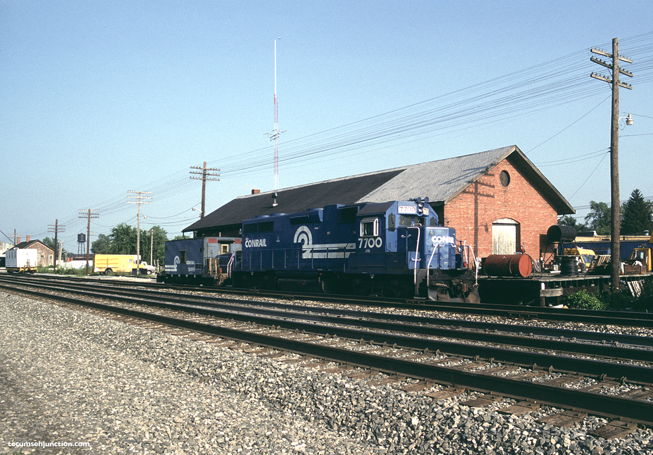 Conrail #7700 at the freight house, Bryan, OH