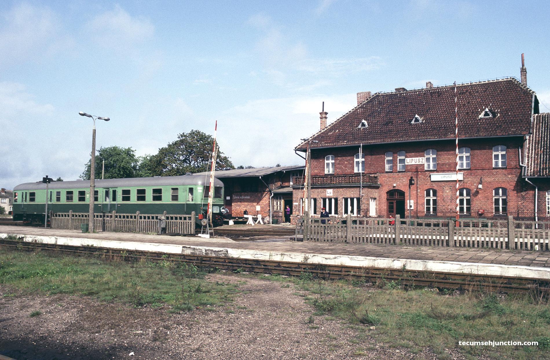 PKP SN61 rail car sits at the station in Lipusz, Poland