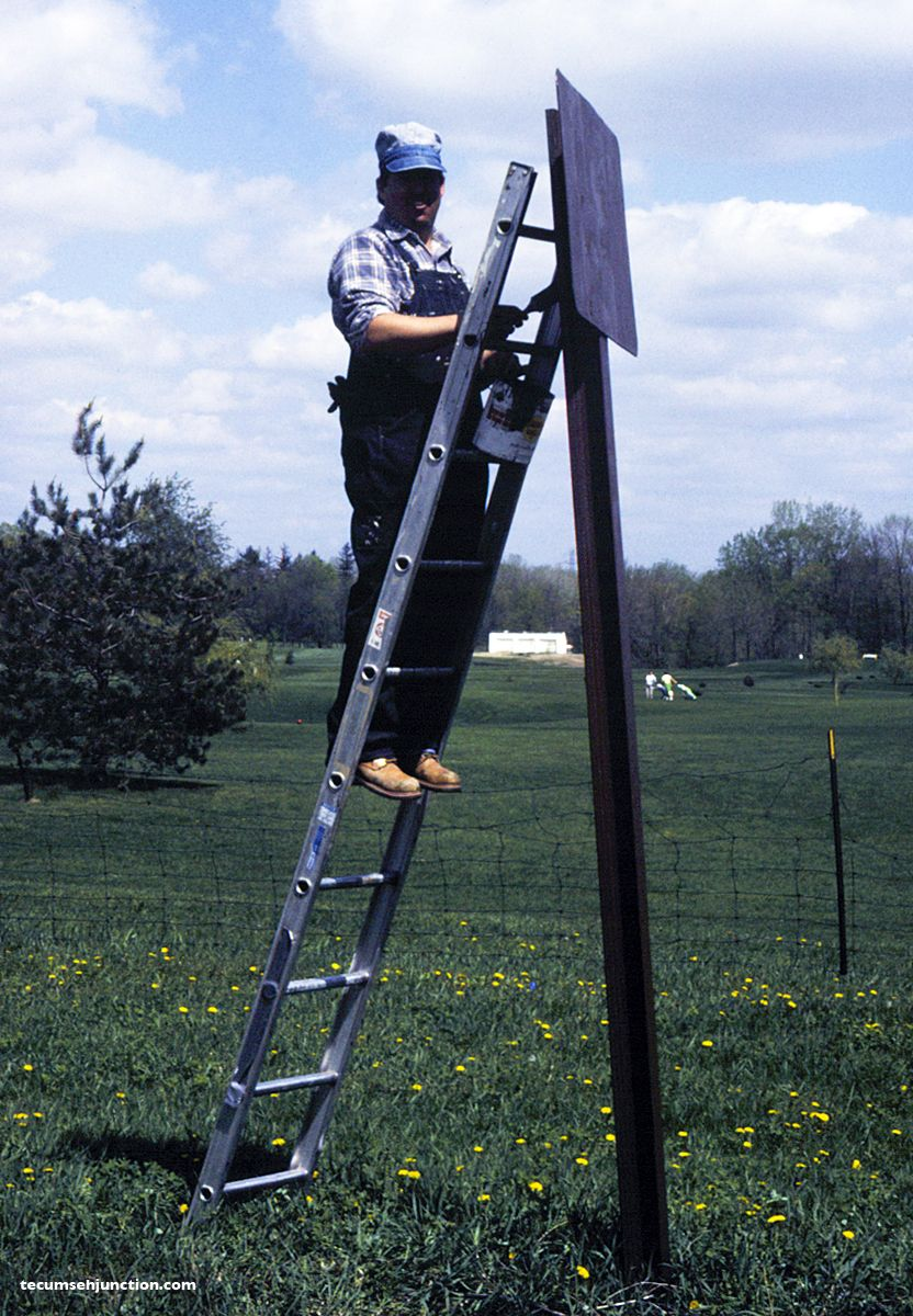 Craig Harris on ladder