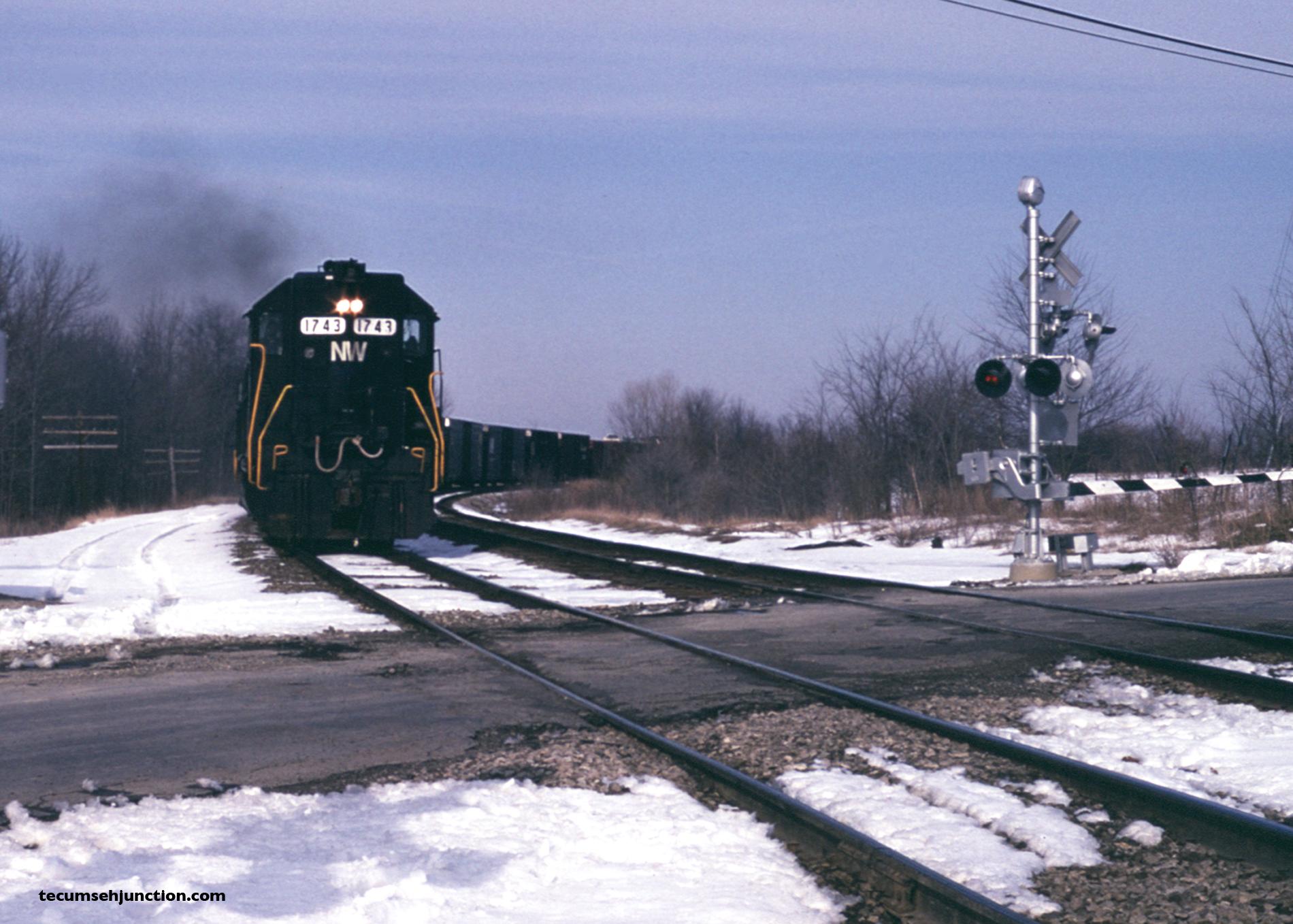 NW train SC-1 at Adrian MI on 08 April 1982