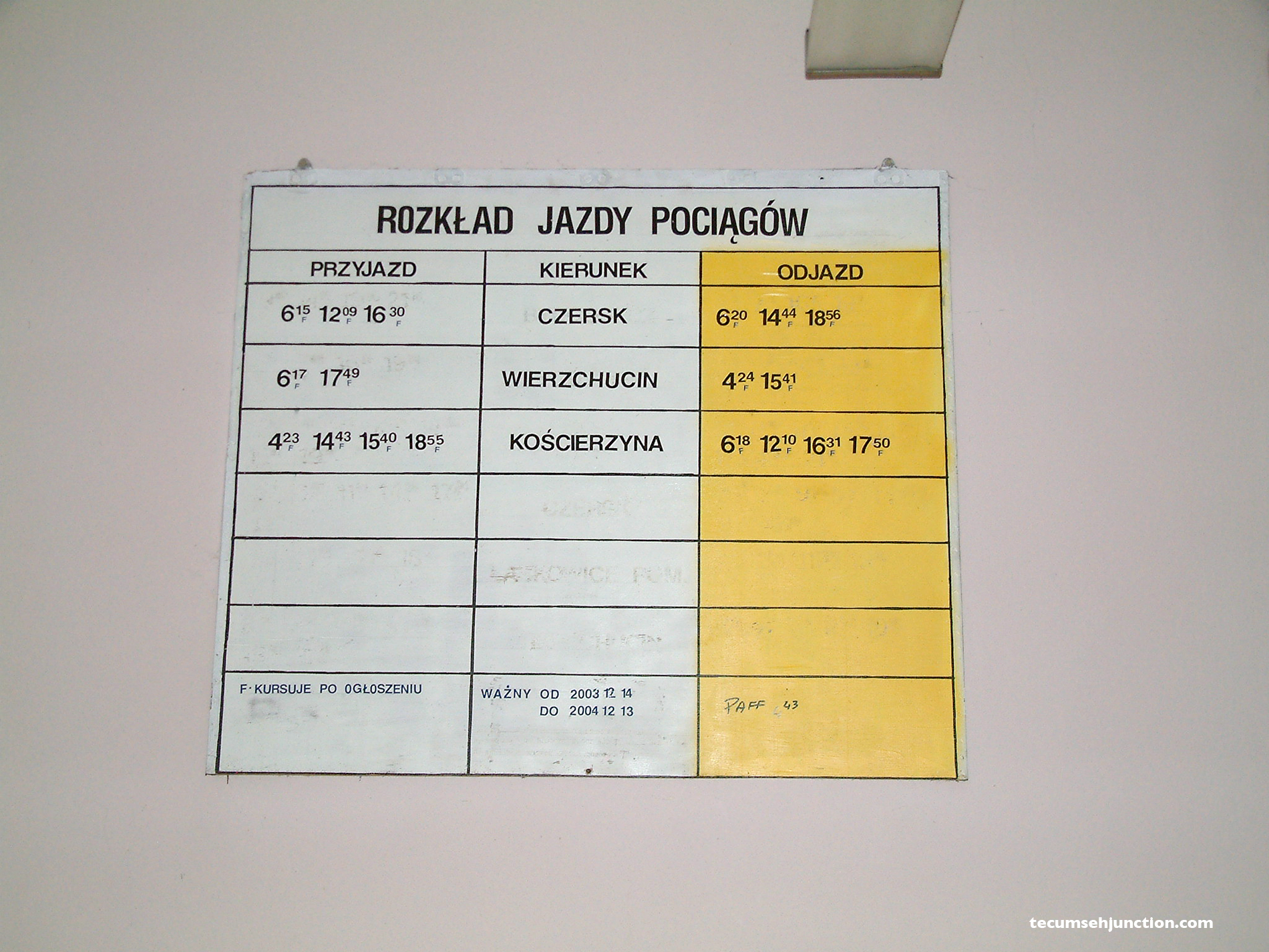 The timetable board at Bąk