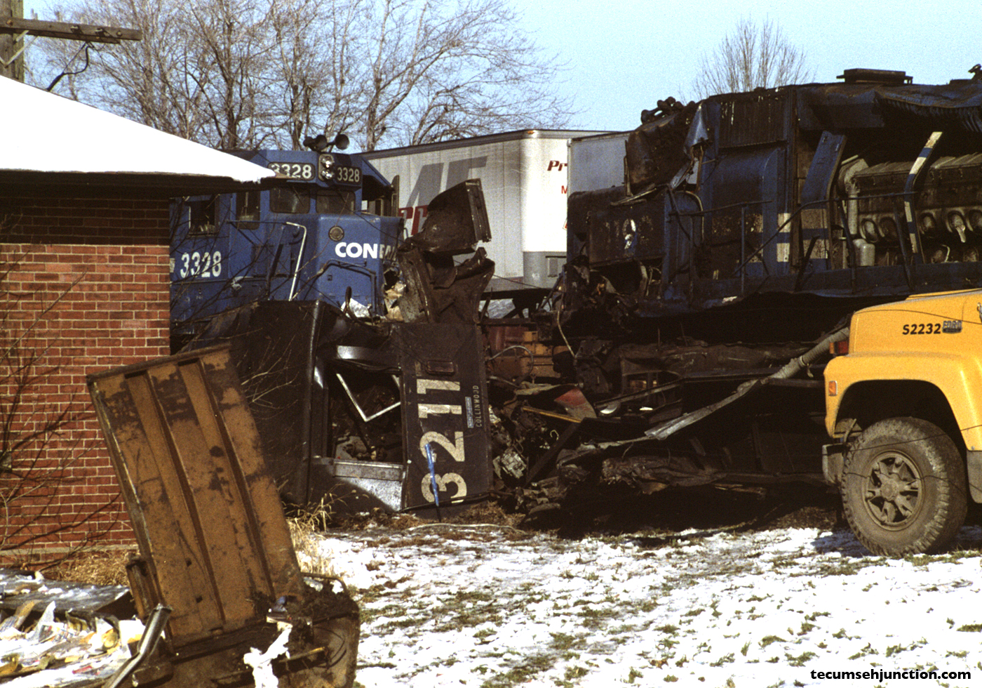 The crumpled remains of the cab of Conrail #3211.