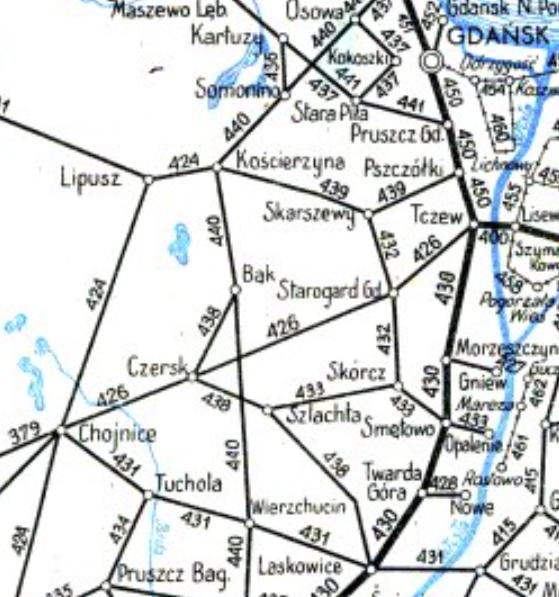 Bąk on 1952 map